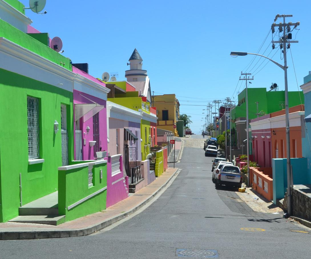 The district of Bo-Kaap, a cultural hotspot in Cape Town famous for Cape Malay cuisine.